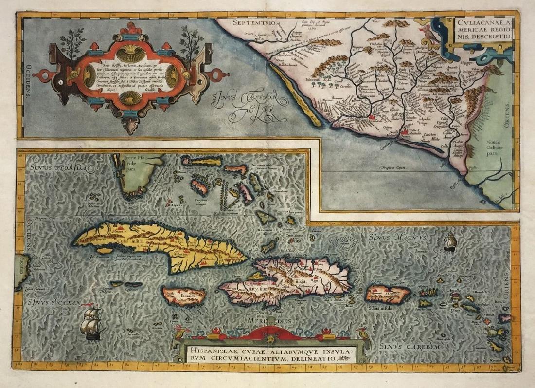 Ortelius: Antique Map Culiacan, Mexico/West Indies 1579