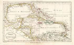Blondeau: Antique Map West Indies, Gulf of Mexico, 1790