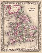 Mitchell: Antique Map of England and Wales, 1870