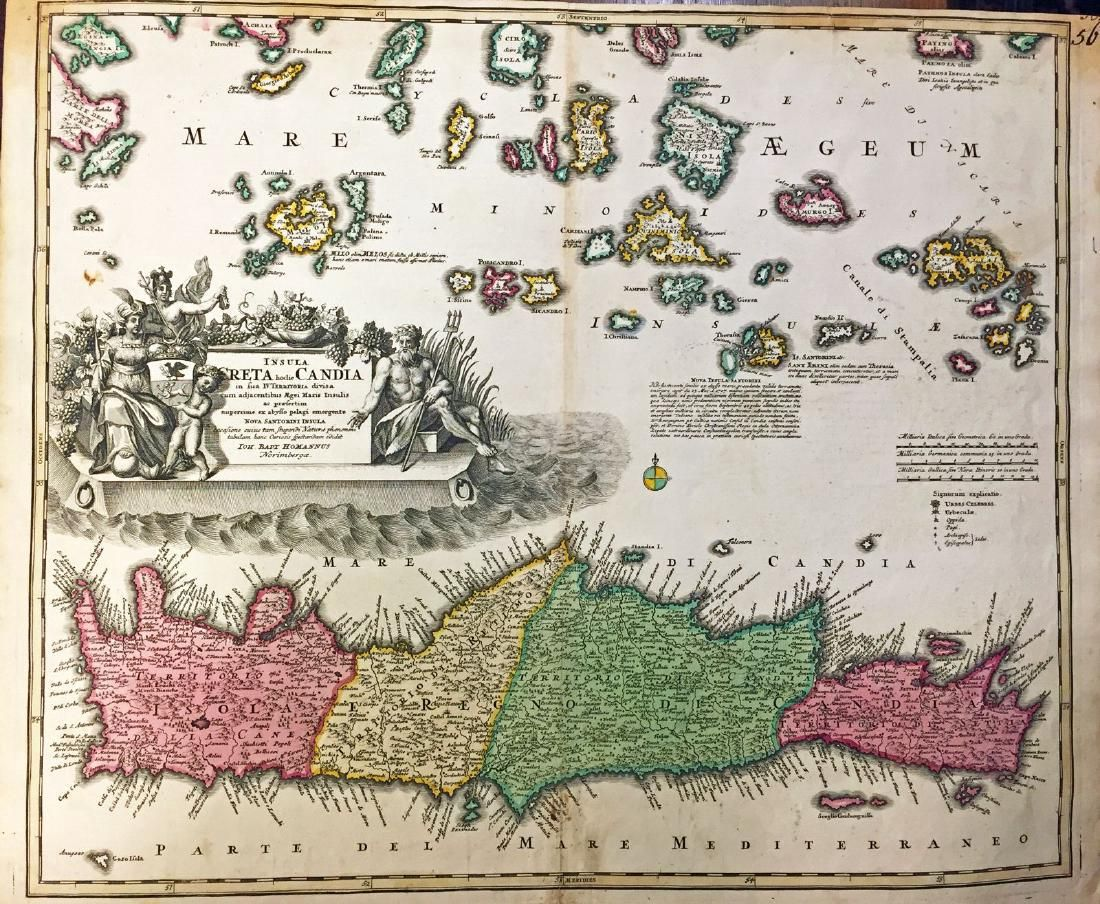 Homann: Antique Map of Crete & Aegean Islands, 1730