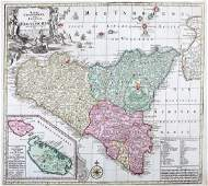 Lotter: Antique Map of Sicily and Malta, 1760