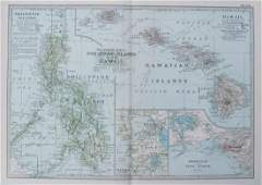 Antique Map of Hawaii and the Philippines, 1905