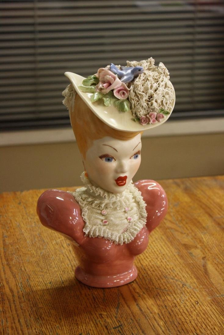 Vintage Bust of a Lady Head with Hat