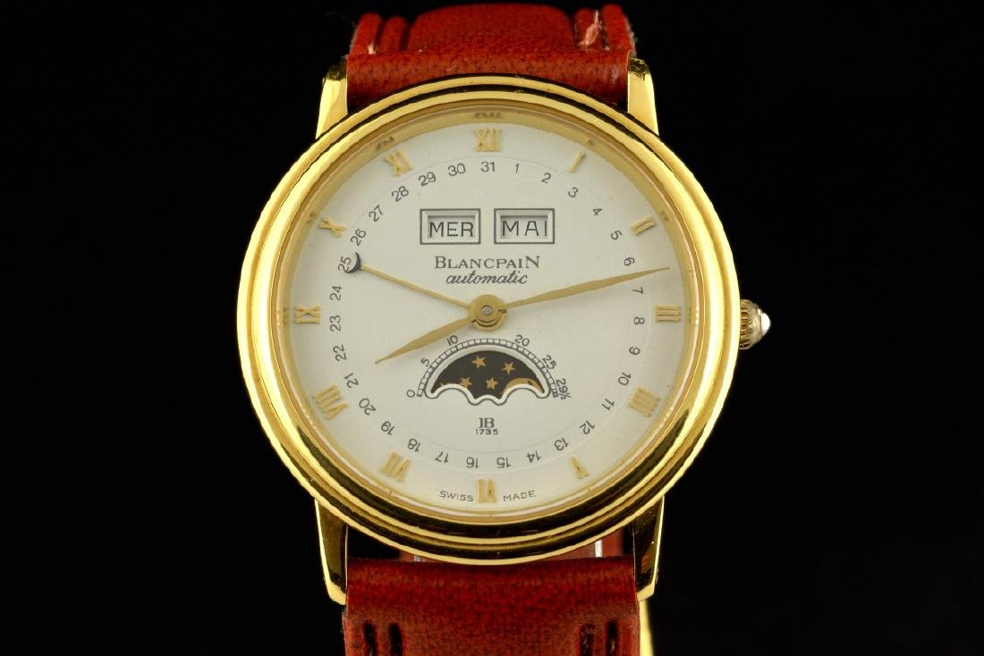 Blancpain Automatic Moonphase Date 18K Gold Watch