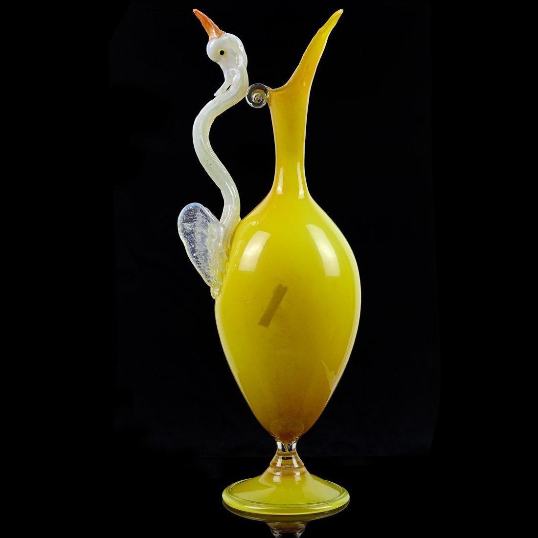 Yellow opal white swan art glass vase venetian yellow opal white swan art glass vase floridaeventfo Choice Image