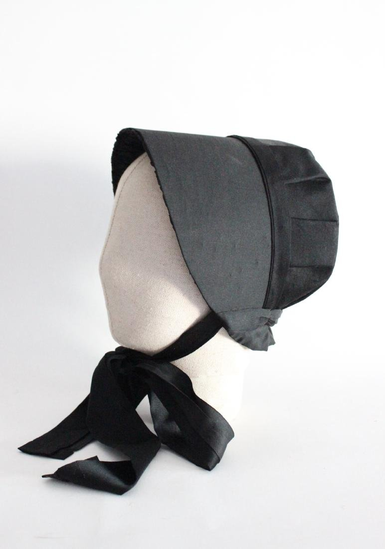 Victorian Black Silk Bonnet, ca. mid 19th c.