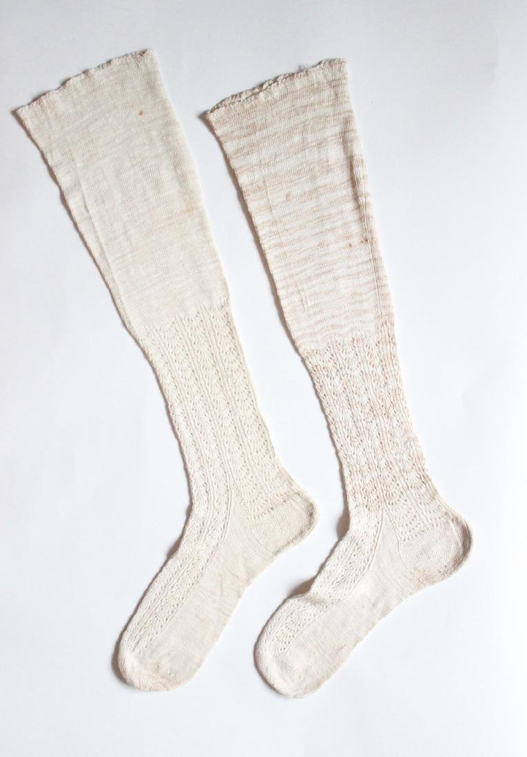 Hand Knitted Flax Socks, ca. 19th Century.