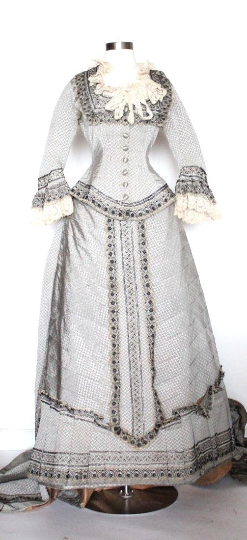 ca. 1880's Gray Silk Gown with Lace Trim