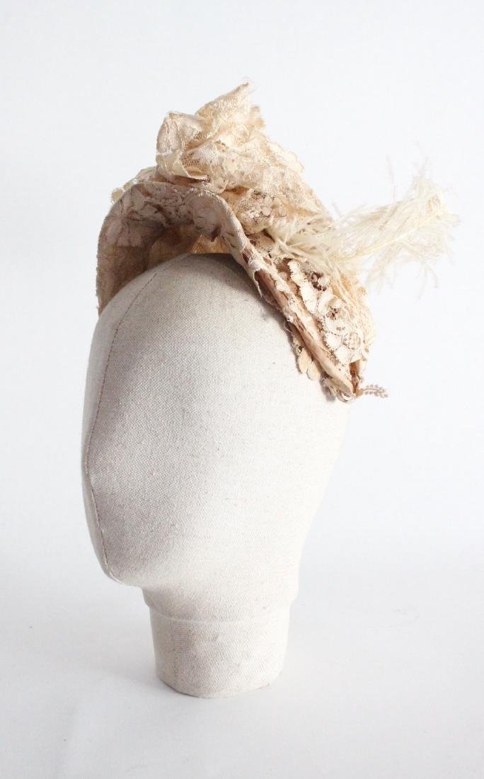 Victorian Ivory Lace Bonnet Hat with Ostrich Trim, 19th