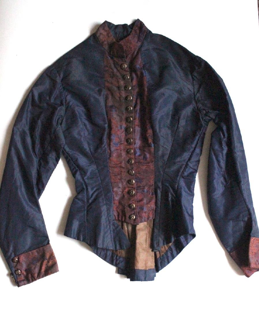 Late 1800's Navy Blue Silk & Brocade Jacket