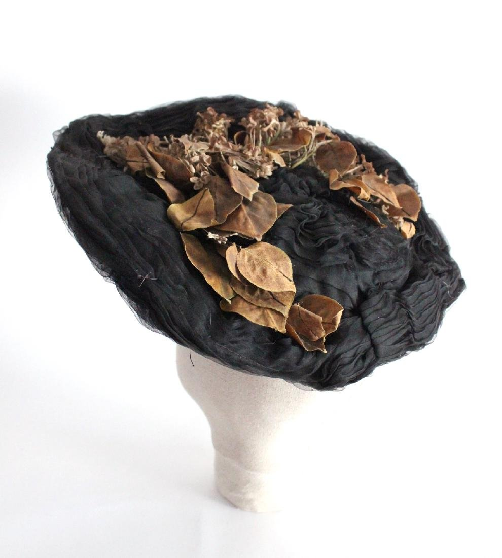 Early 1900's Black Silk Gibson Girl Hat with Flowers