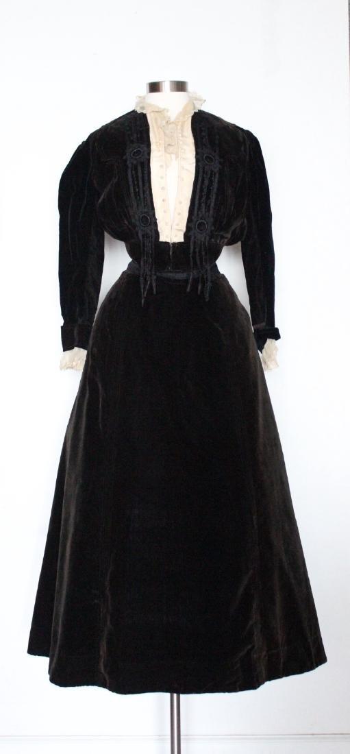 Early 1900's Velvet Jacket & Skirt Set