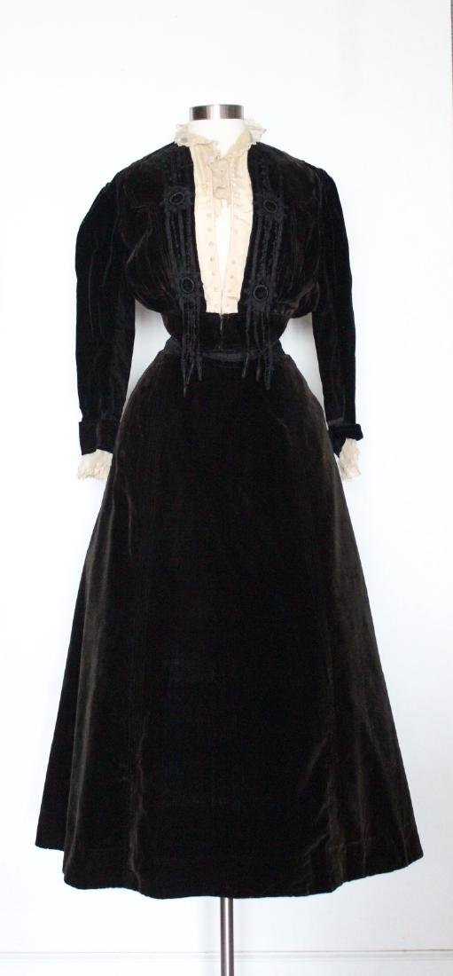 Early 1900's Velvet Jacket & Skirt Set