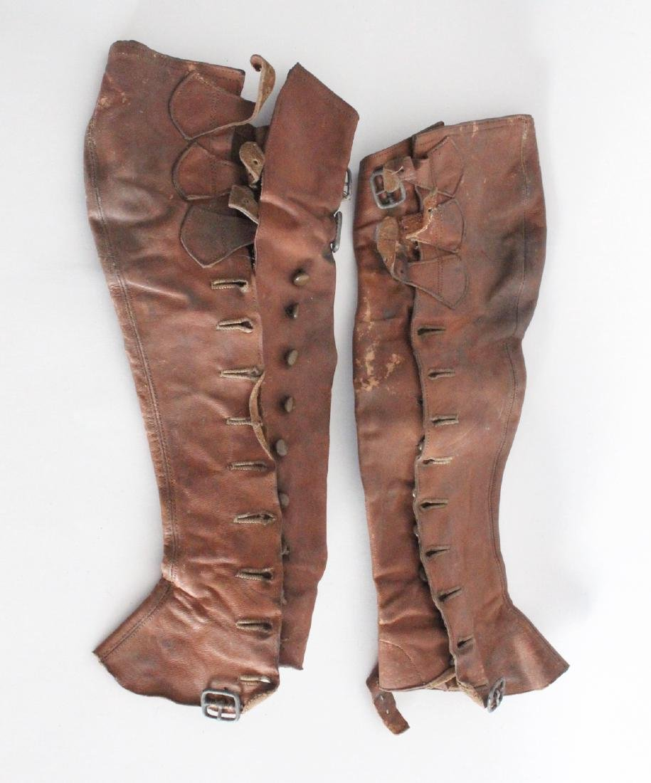 Pair of Brown Leather Spats, 20th c.