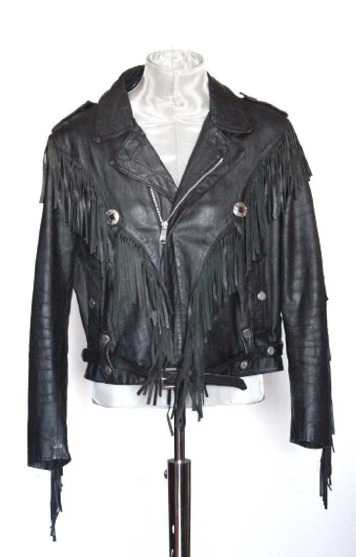 Black Deer Skin Leather Motorcycle Jacket, ca. 1980's