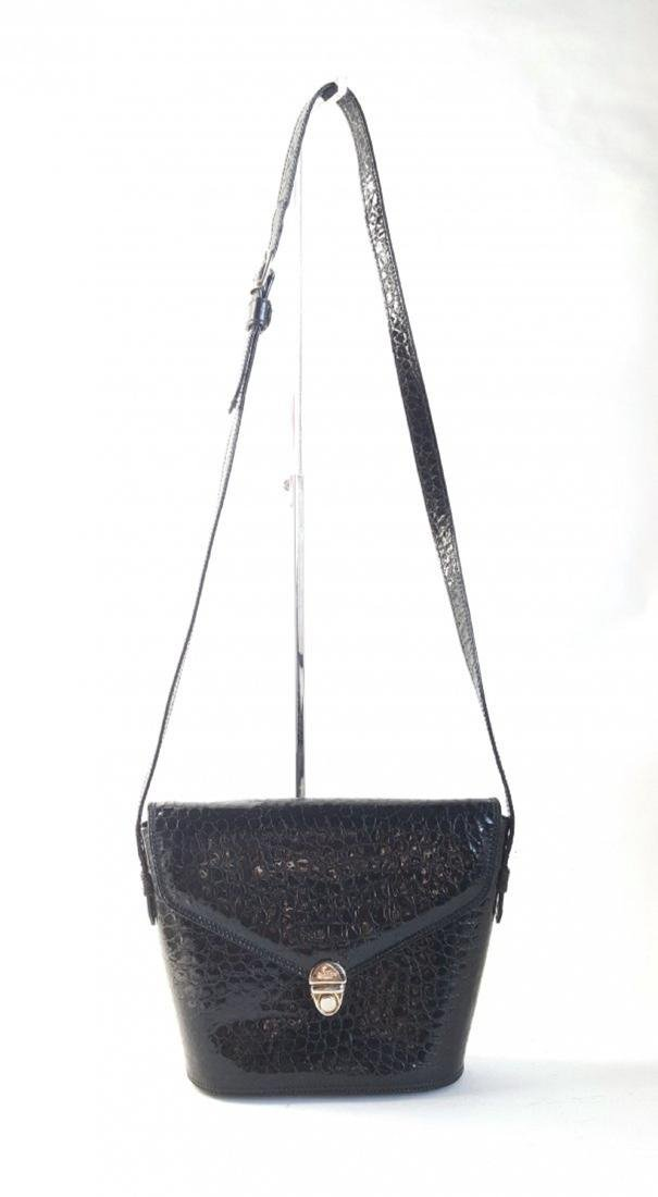Bally Black Croc Embossed Patent Leather Bag