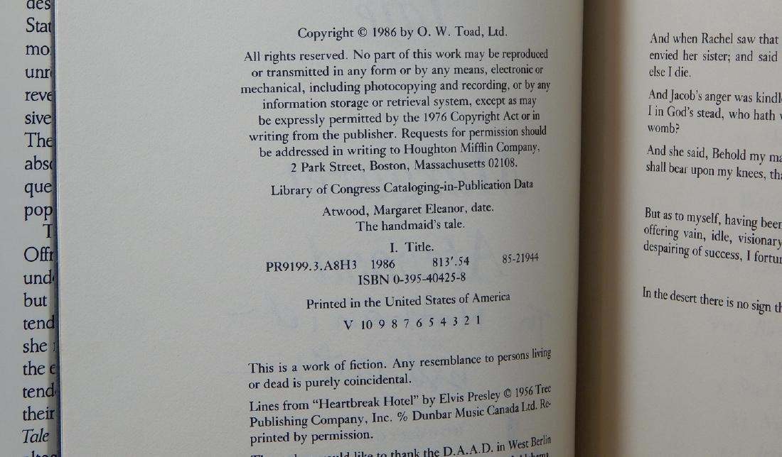 Handmaid's Tale Signed First Printing Margaret Atwood - 3