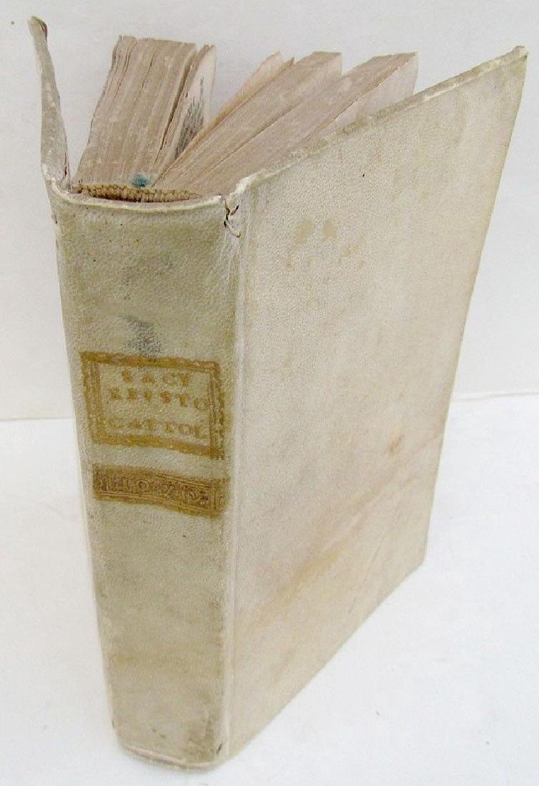 1786 Antique Vellum Binding Book Sacra Scrittura
