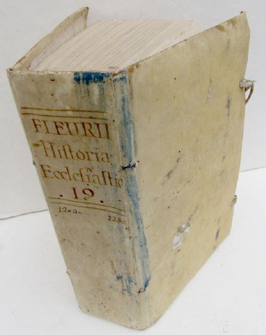 1763 Antique Vellum Bound Church History Book Fleurii