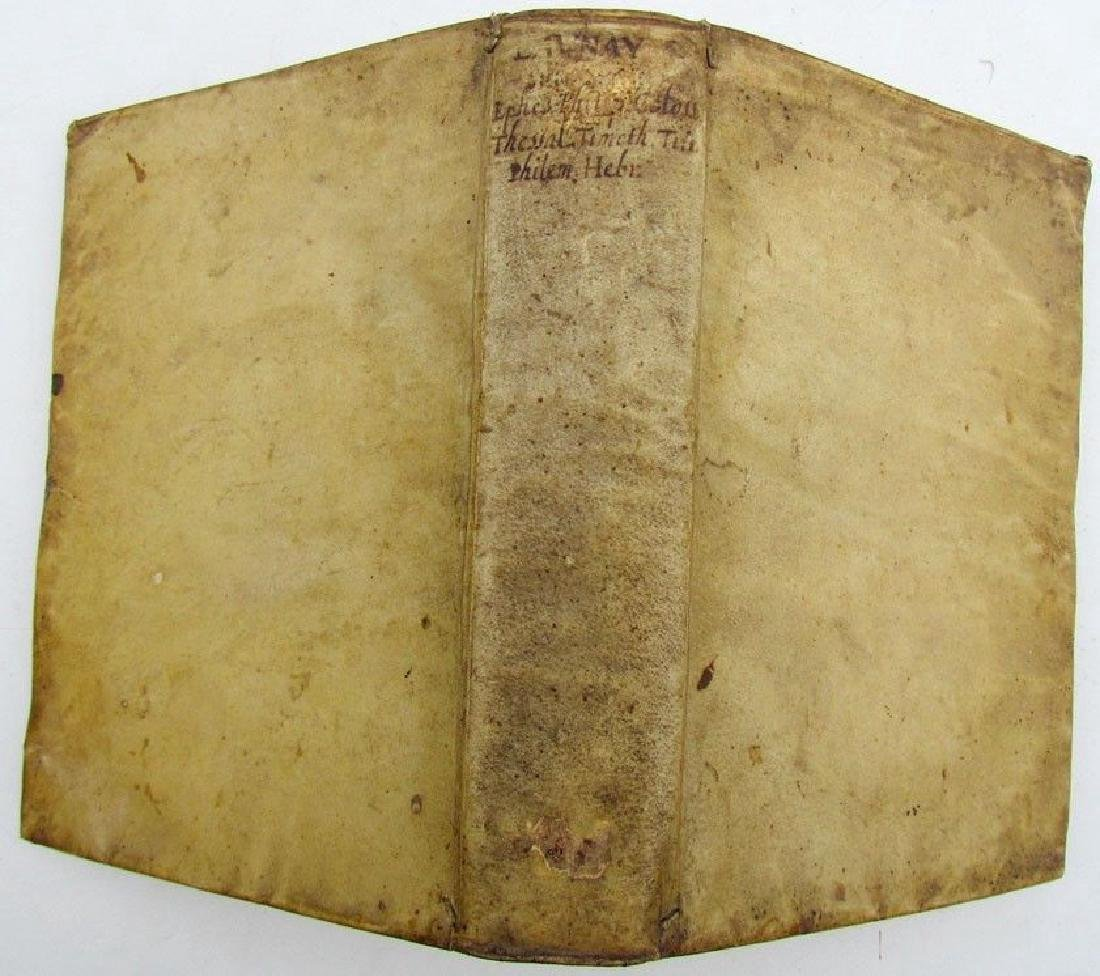 1650 Vellum Bound Antique Book Paraphrase Et Exposition