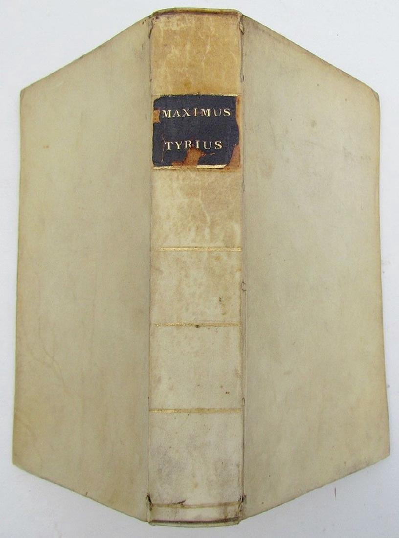 1703 Vellum Bound Antique Maximi Tyrii Maximus Tirius