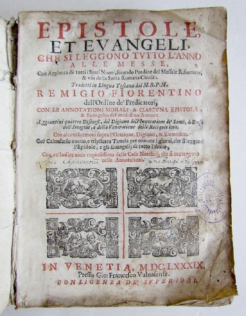 1689 Antique Illustrated Vellum Bound Book Epistole Et