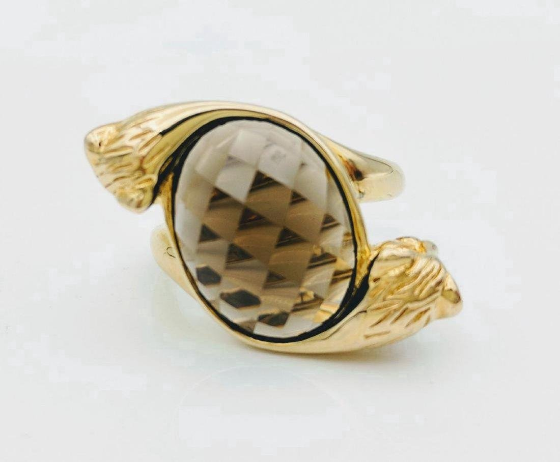 Gold Plated Silver Quartz Figural Tiger Ring, 9.32ct