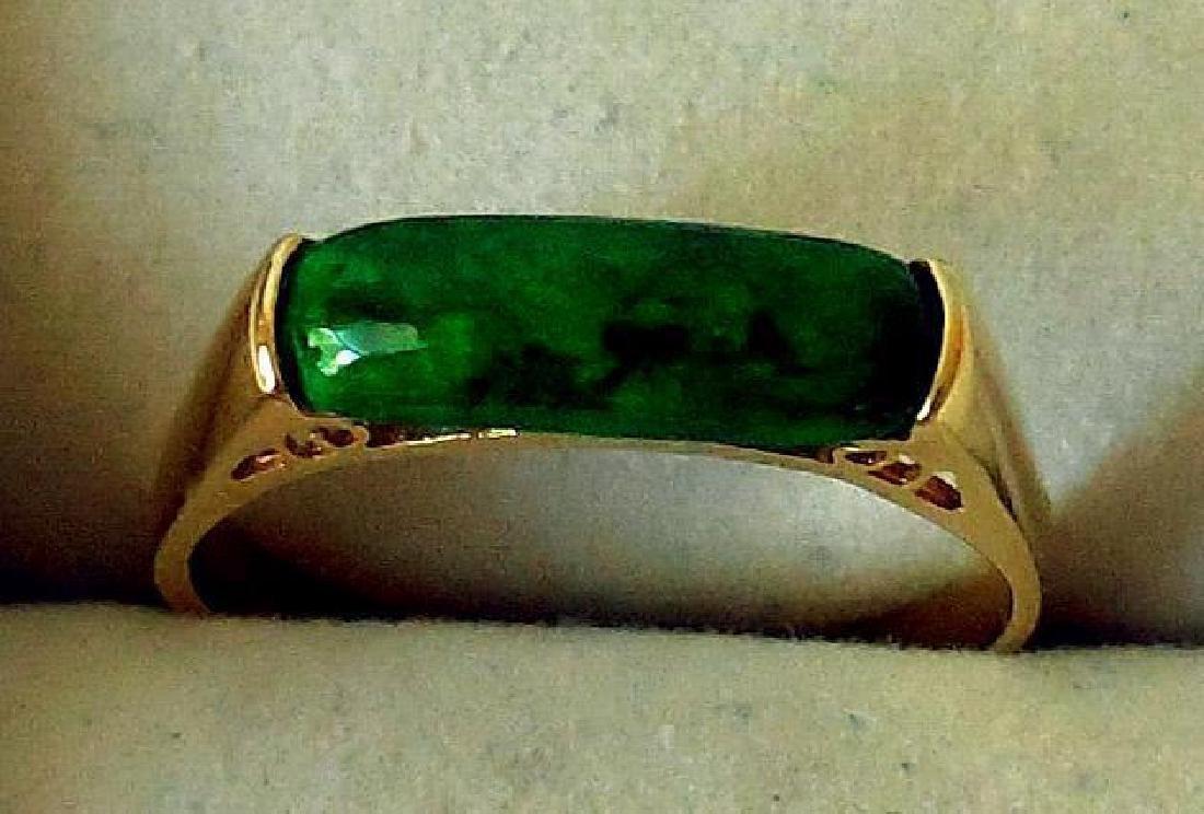 Mid-Century 14K Yellow Gold & Malachite Ring