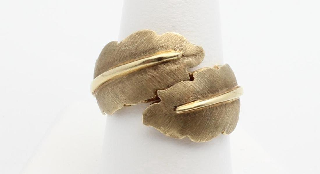 14K Yellow Gold Nature Inspired Leaf Ring