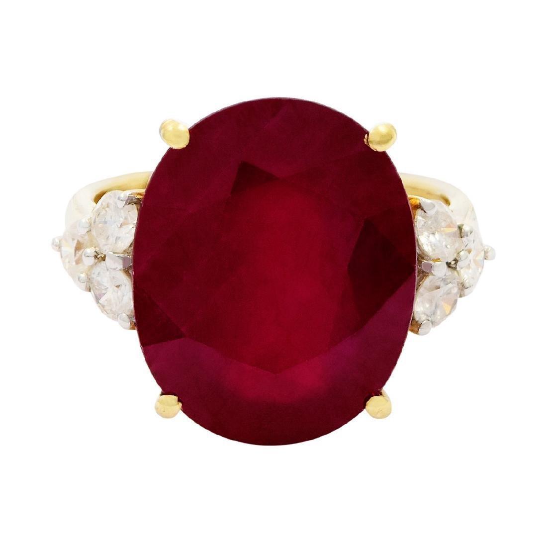 14K Yellow Gold 15.11ct Ruby 0.68ctw Diamond Ring