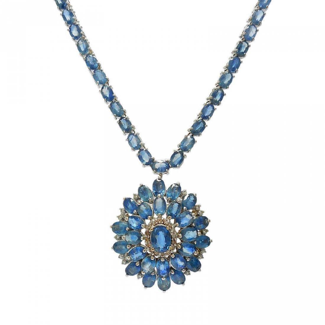 14K Gold 54.18ctw Blue Sapphire 0.70ct Diamond Necklace