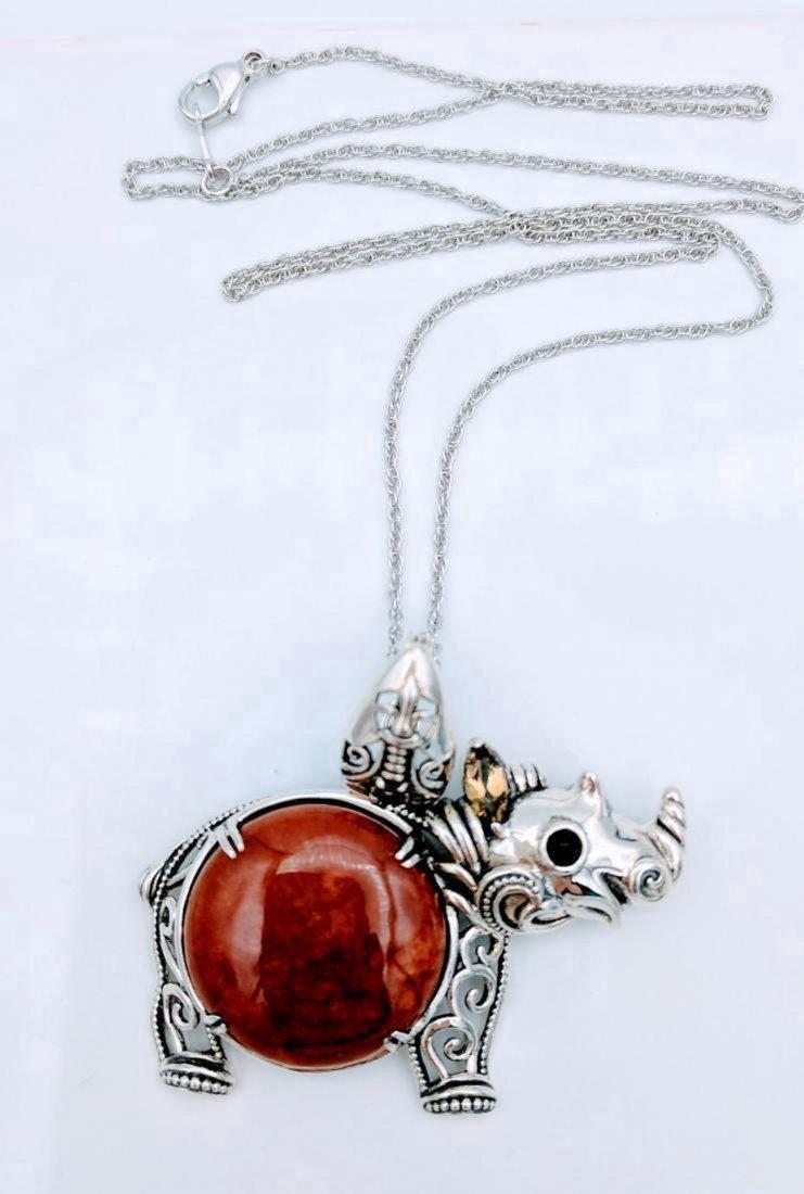 Sterling Silver Jasper Citrine Figural Rhino Necklace
