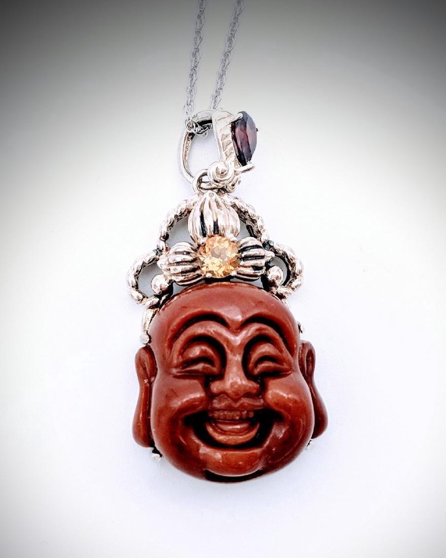 Sterling Silver Jasper Garnet Citrine Buddha Necklace
