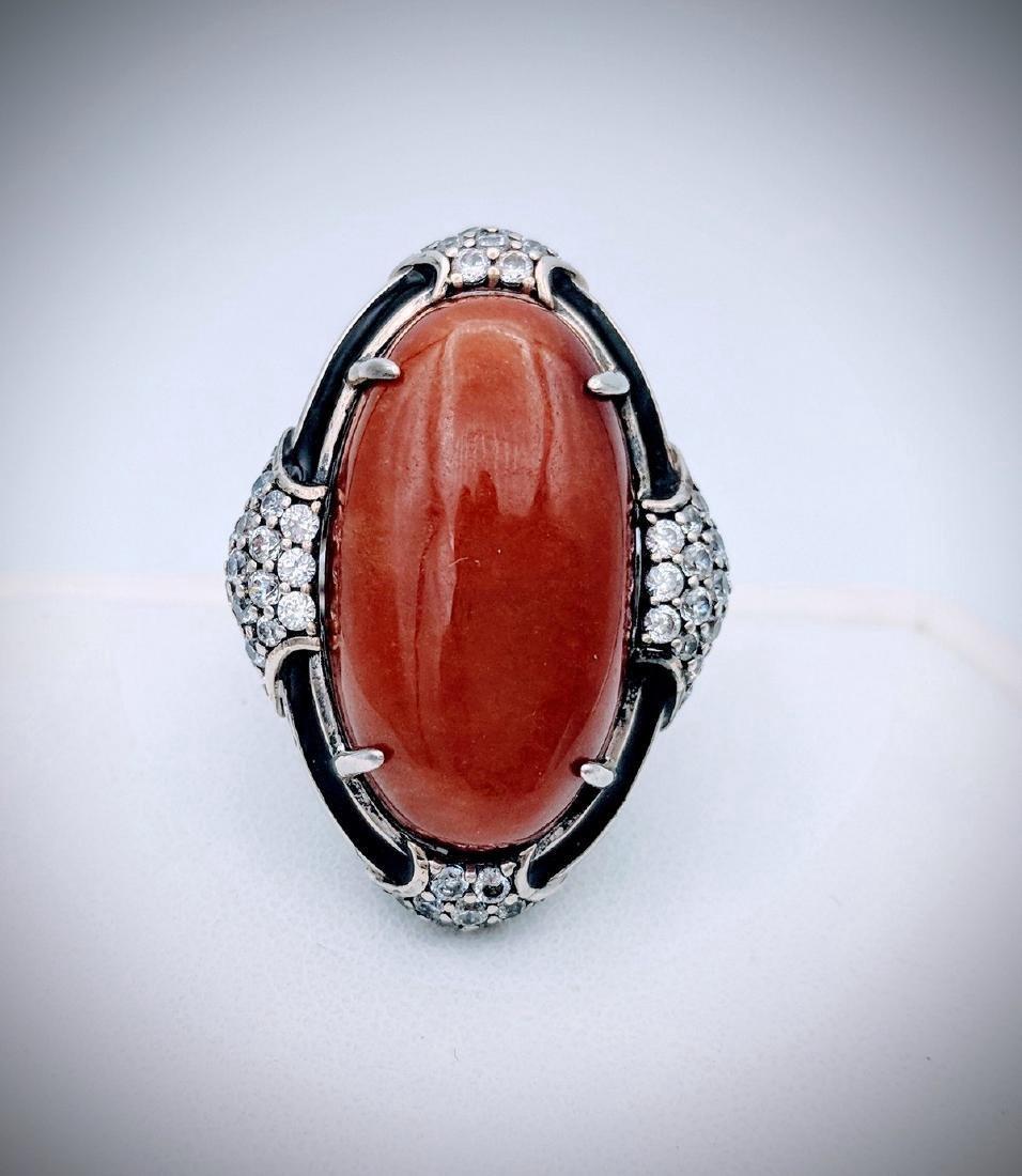 Sterling Silver Jasper Black Enamaling Ring