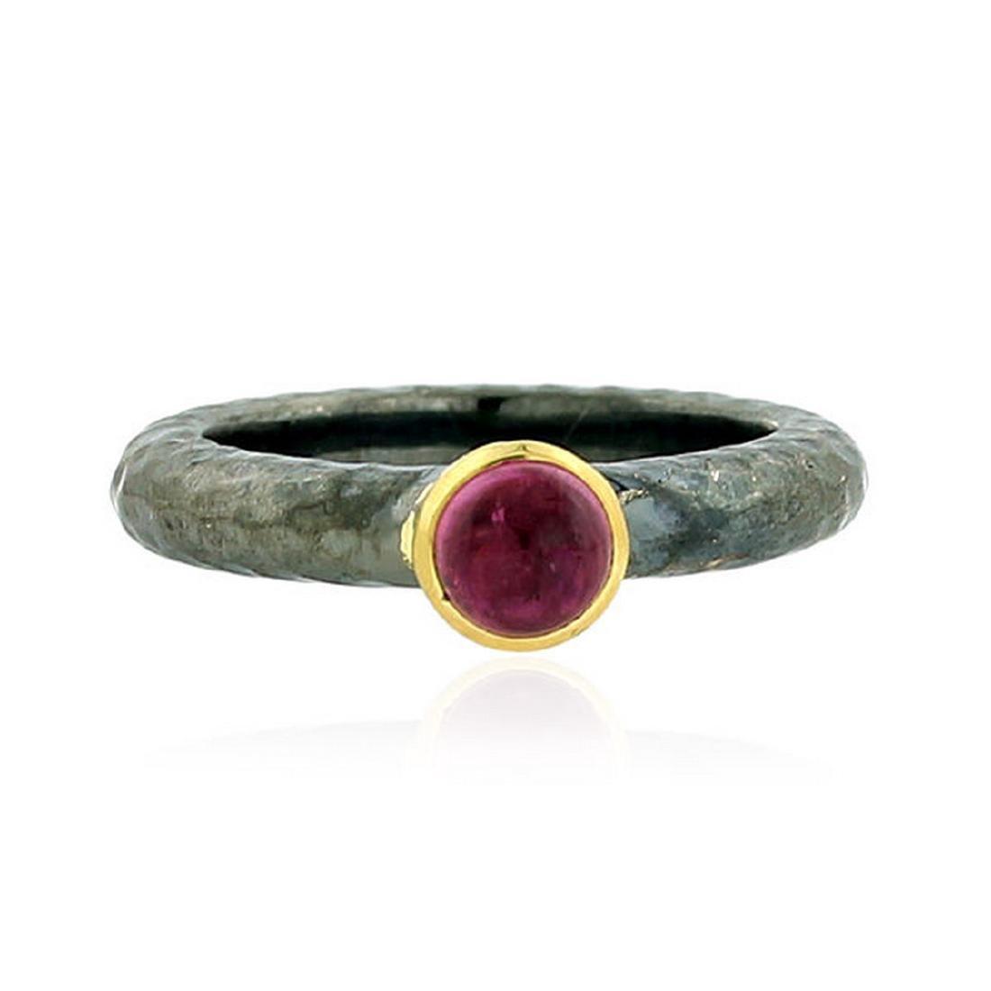 Rhodium Plated Pink Tourmaline Ring