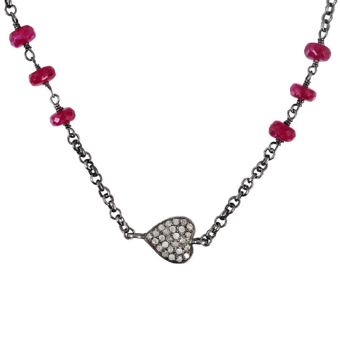 Sterling Silver 13.58ct Ruby Diamond Necklace