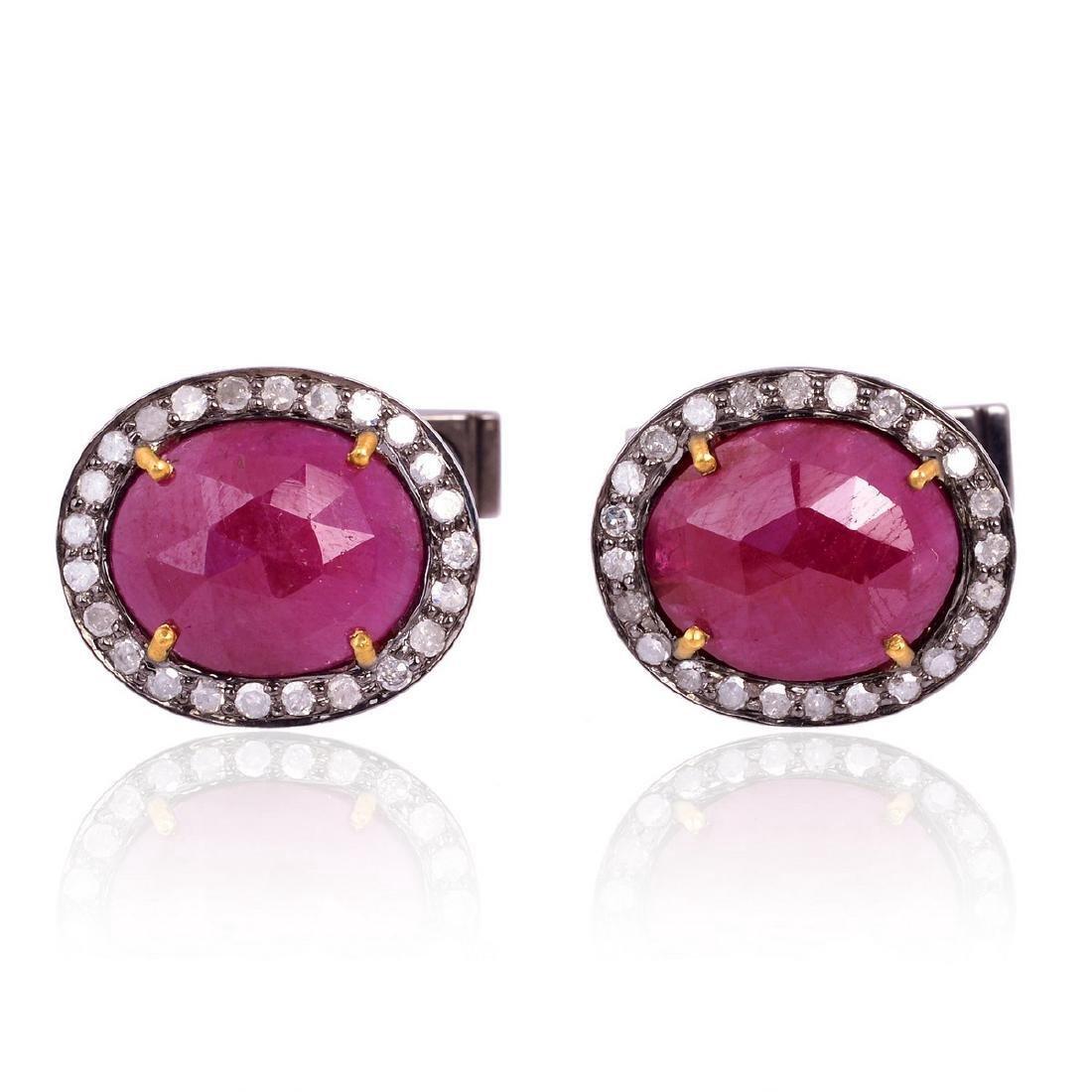 18K Gold Sterling Silver Ruby Diamond Cufflink