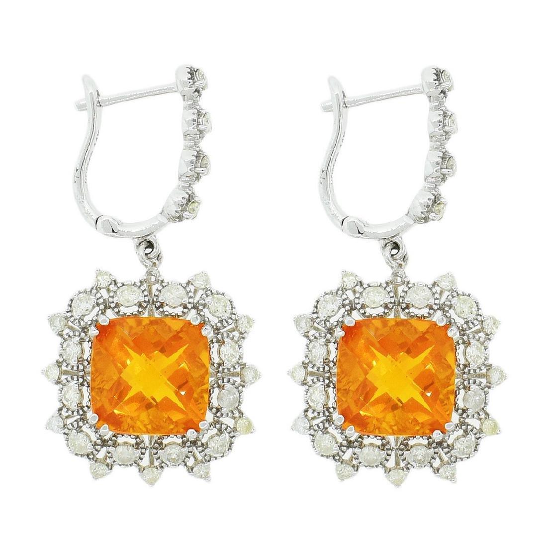 14K White Gold 6.72ct Fire Opal 1.55ct Diamond Earrings