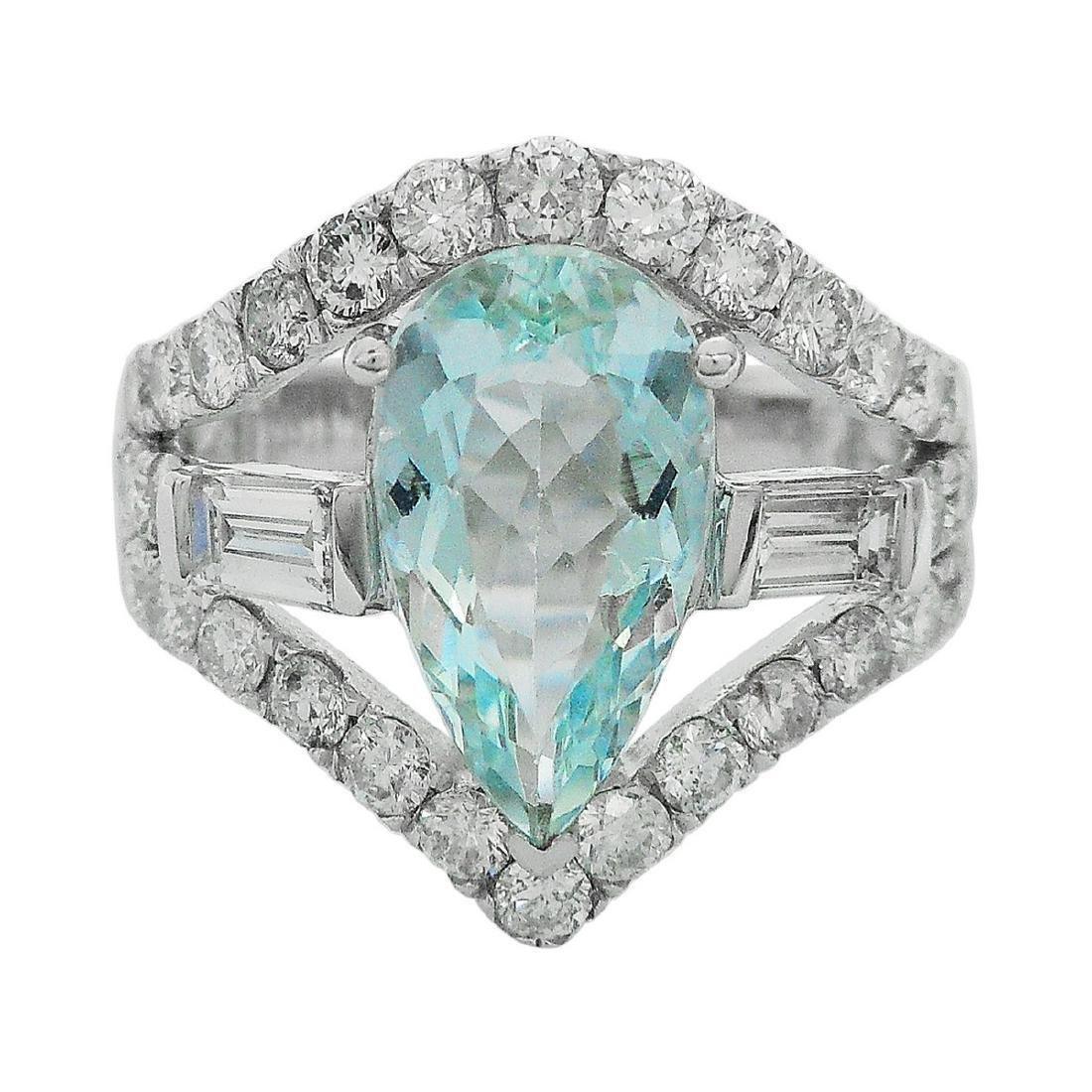 14K White Gold 1.87ct Aquamarine 1.51ctw Diamond Ring