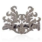 18K Gold Sterling Silver Pave Diamond 2 Finger Ring
