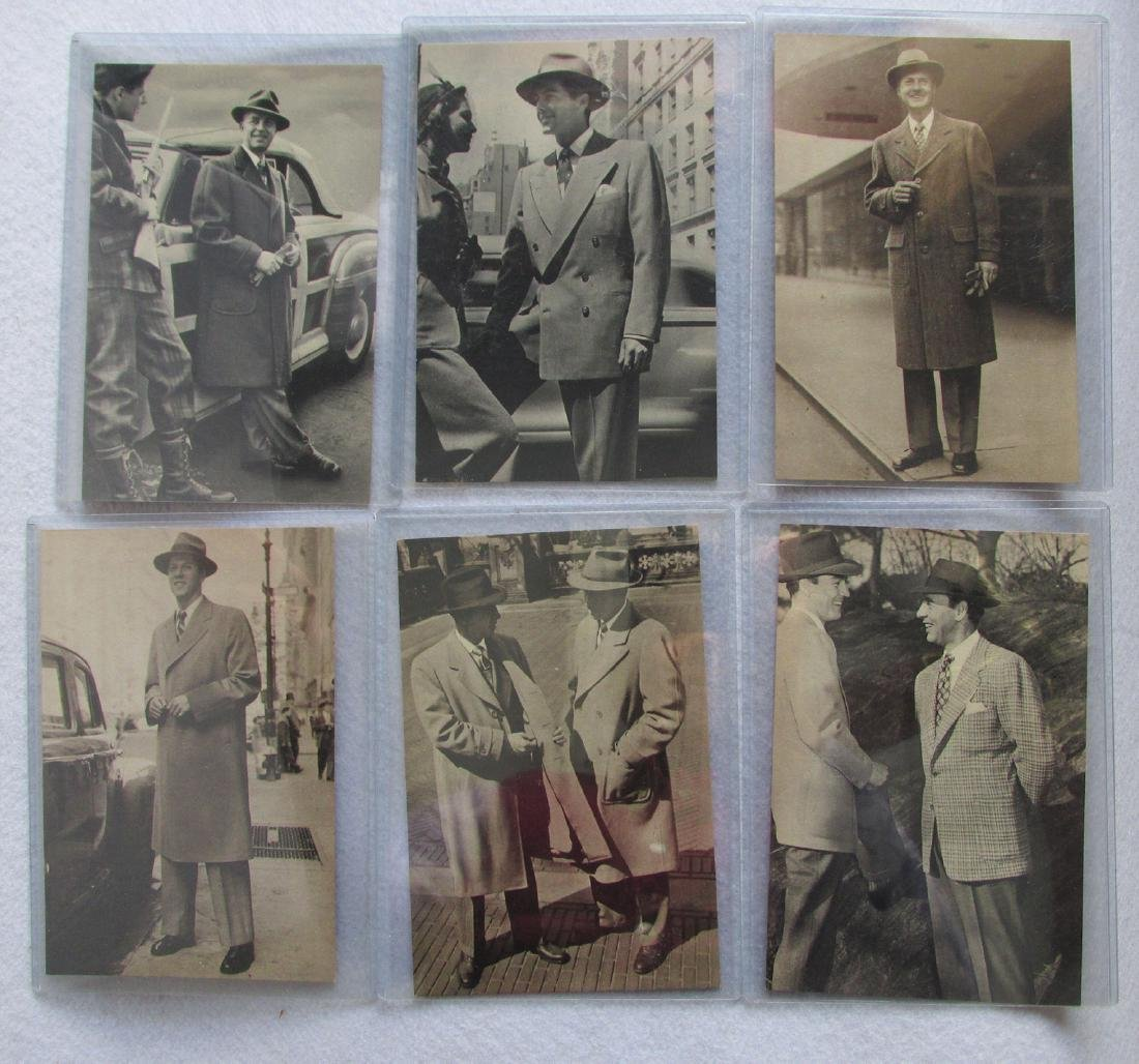 6 1940-50's Advertising Cards, Men's Clothing Suits