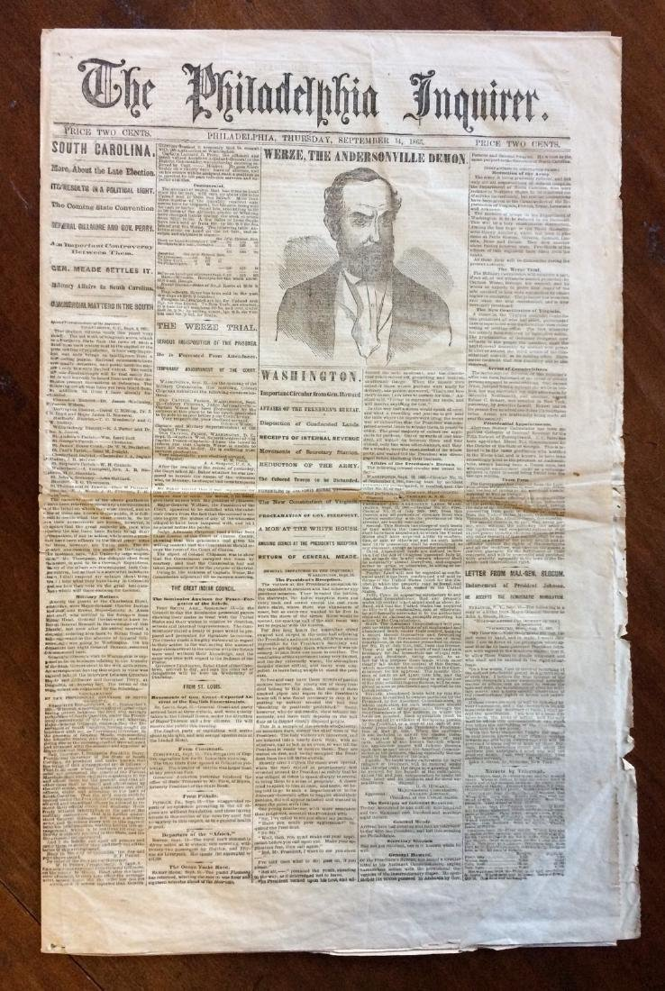 Philadephia Inquirer News Paper Henry Witz trial.