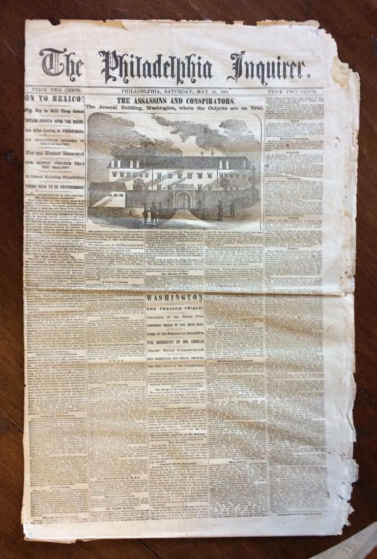 Philadelphia Inquirer 1865 Trial Lincoln Assasination