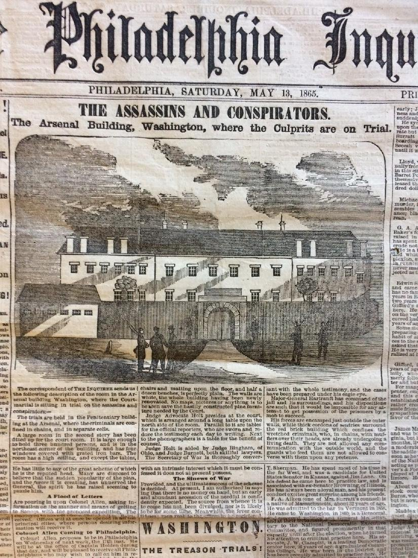 Philadelphia Inquirer 1865 Trial Lincoln Assasination - 2