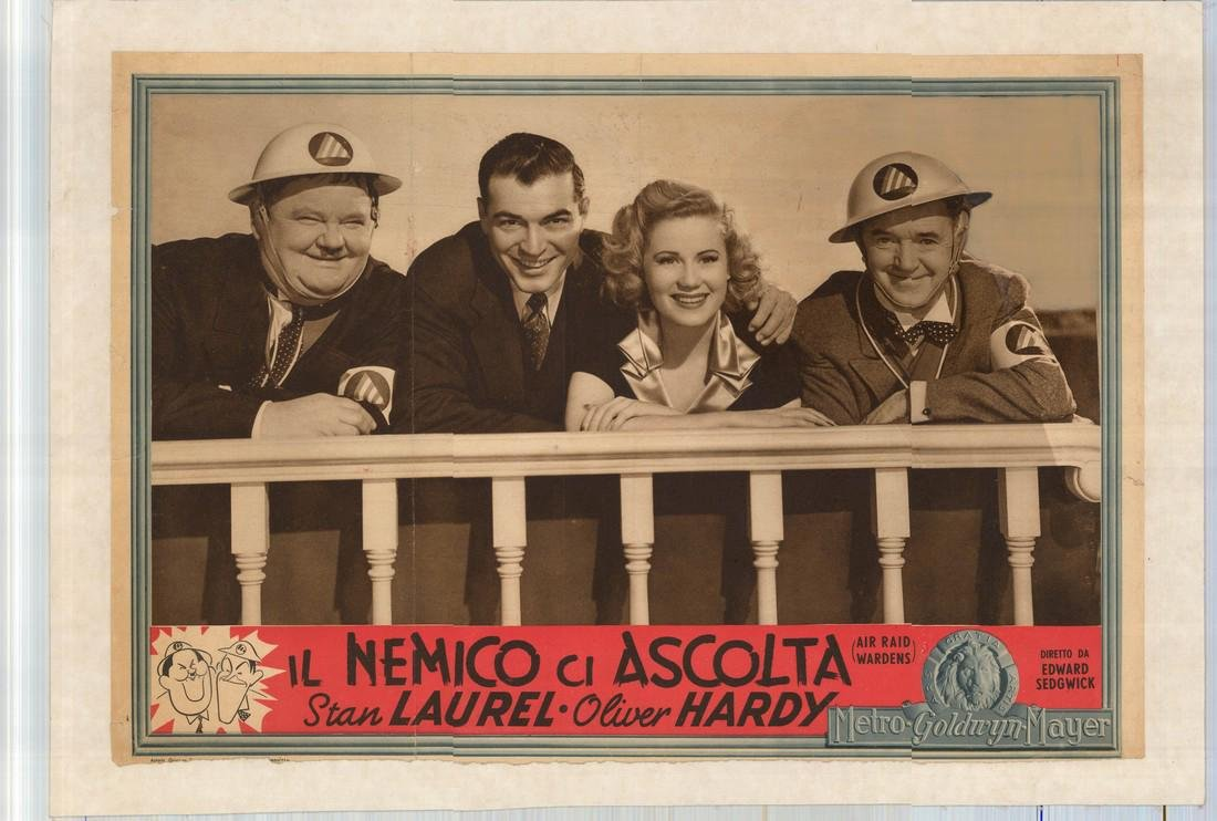 Laurel and Hardy 1943 Air Raid Wardens Poster