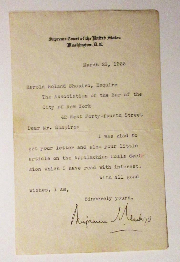 Benjamin Cardozo, autograph letter
