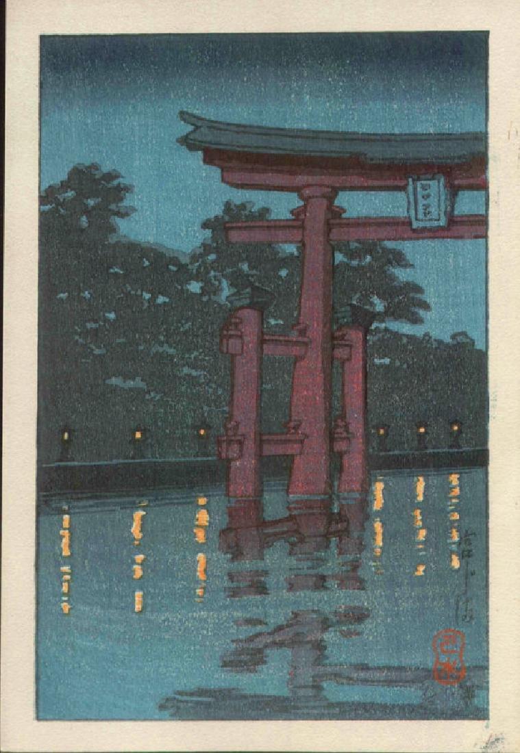 Kawase Hasui Woodblock Torii at Miyajima at Night