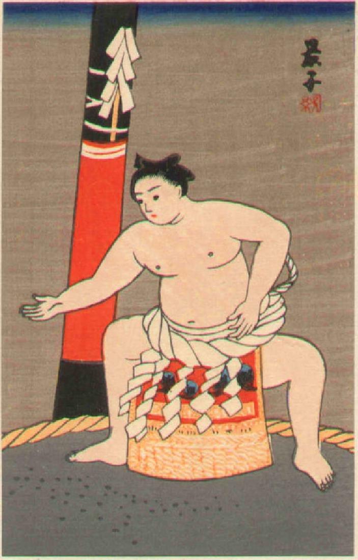 Keiko Yurimoto Woodblock Sumo Wrestler