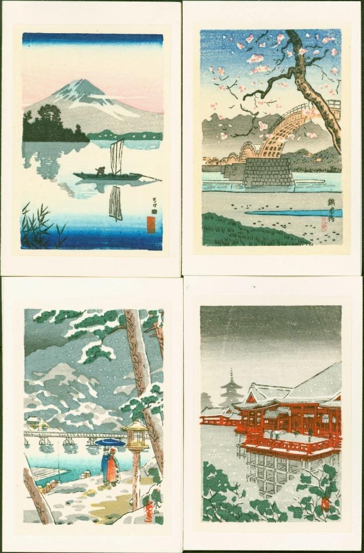 Tsuchiya Koitsu 4 Miniature Woodblock Prints