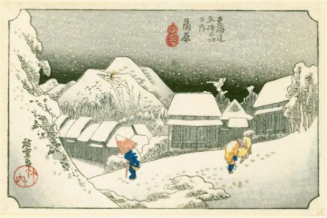 Ando Hiroshige Woodblock Night Snow at Kanbara